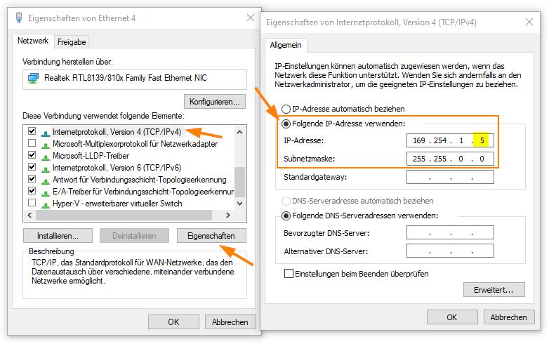 Eine IP-Adresse im Notfall-IP-Bereich der FritzBox konfigurieren