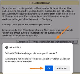 FritzBox ohne Kennwort nach einem reboot zurücksetzen
