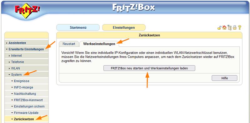 FritzBox auf Werkseinstellungen zurücksetzen in der alten Benutzeroberfläche