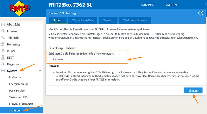 Sicherungsdatei der FritzBox-Einstellungen erstellen