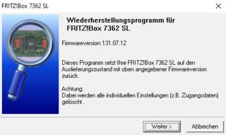 Recovery Tool für eine FritzBox 7362