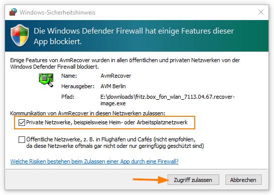 Firewall-Ausnahme für das Recovery Tool gewähren
