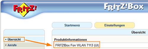 Versionsnummer der FritzBox in der alten Benutzeroberfläche