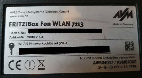 Versionsnummer der FritzBox auf der Unterseite